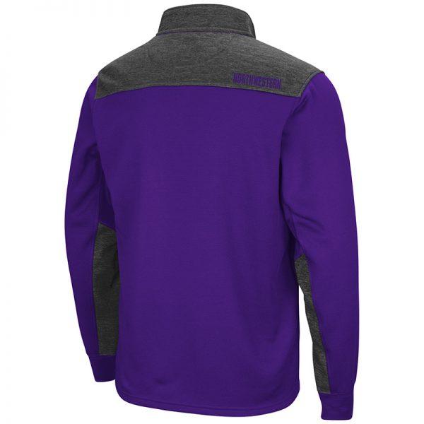 Northwestern University Wildcats Colosseum Men's Purple / Heather Charcoal 1/4 Zip Fleece -Back