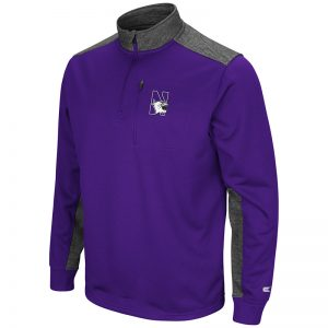 Northwestern University Wildcats Colosseum Men's Purple / Heather Charcoal 1/4 Zip Fleece