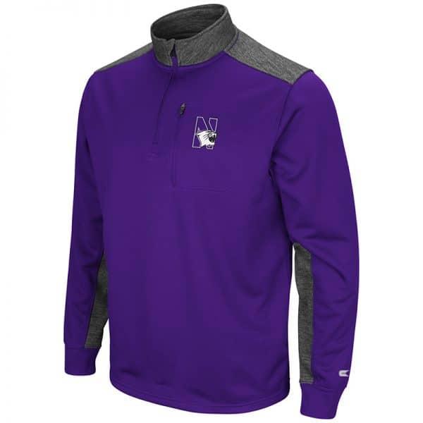 Northwestern University Wildcats Colosseum Men's Purple / Heather Charcoal 1/4 Zip Fleece