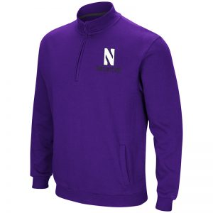 Northwestern University Wildcats Colosseum Men's Purple Playbook 1/4 Zip Fleece with Stylized N Design