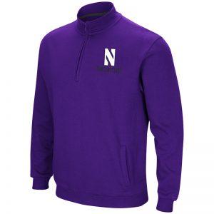 Northwestern University Wildcats Colosseum Men's Purple Playbook 1/4 Zip Fleece with Stylized N Design
