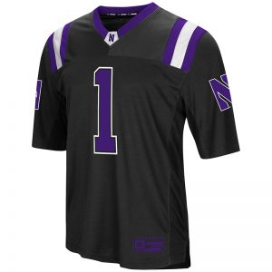 Northwestern University Wildcats Colosseum Men's Black Foos-Ball Football Jersey with Stylized N Design