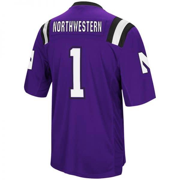 Northwestern University Wildcats Colosseum Men's Purple Foos-Ball Football Jersey with Stylized N Design-Back