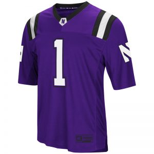 Northwestern University Wildcats Colosseum Men's Purple Foos-Ball Football Jersey with Stylized N Design