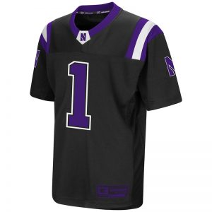 Northwestern University Wildcats Colosseum Youth Black Foos-Ball Football Jersey with Stylized N Design