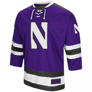 Northwestern University Wildcats Colosseum Men's Purple Athletic Machine Hockey Jersey with Stylized N Design