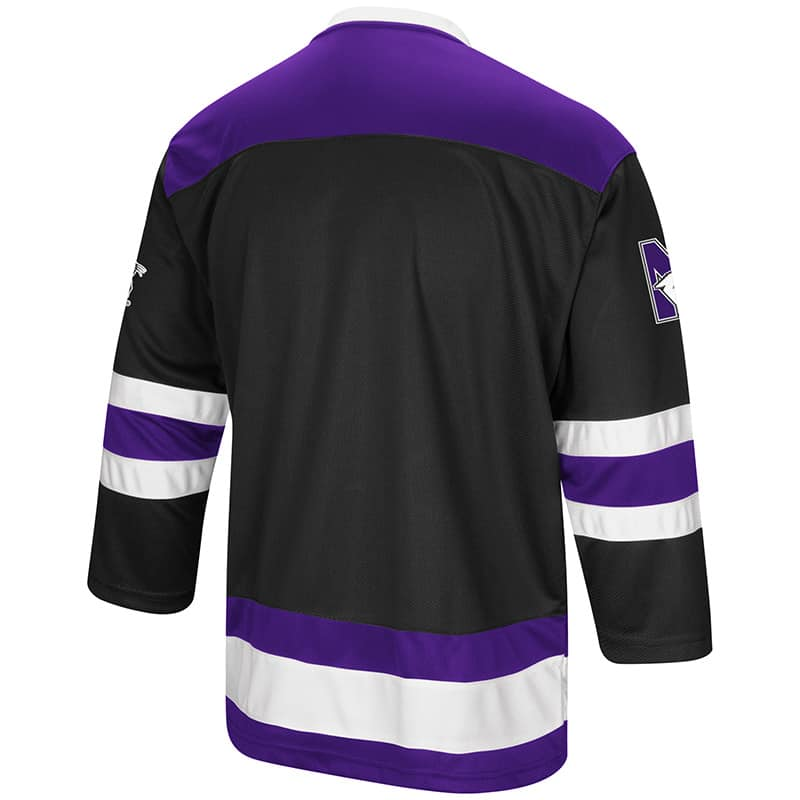 huge selection of 68bde d120f Northwestern University Wildcats Colosseum Men's Black Athletic Machine  Hockey Jersey with N-Cat Design