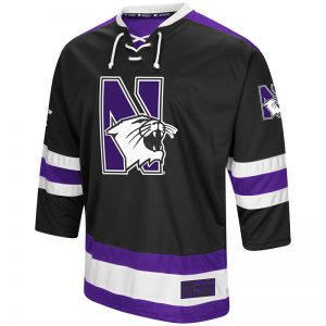 Northwestern University Wildcats Colosseum Men's Black Athletic Machine Hockey Jersey with N-Cat Design