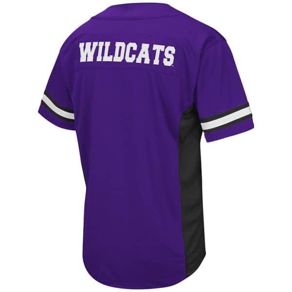 Northwestern University Wildcats Colosseum Men's Purple Strike Zone Baseball Jersey with Stylized N Design-Back