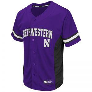 Northwestern University Wildcats Colosseum Men's Purple Strike Zone Baseball Jersey with Stylized N Design