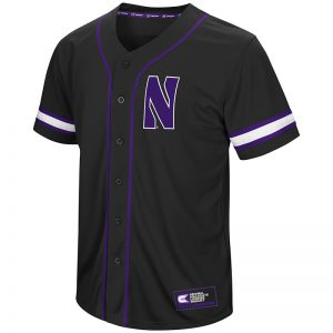 Northwestern University Wildcats Colosseum Men's Black Playball Baseball Jersey with Stylized N Design-Back