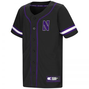 Northwestern University Wildcats Colosseum Youth Black Play Ball Baseball Jersey with Stylized N Design