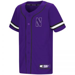 Northwestern University Wildcats Colosseum Youth Purple Play Ball Baseball Jersey with Stylized N Design