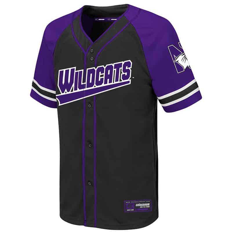 Northwestern University Wildcats Colosseum Youth Purple/Black Wallis Baseball Jersey with N-Cat Design