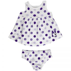Northwestern University Wildcats Colosseum Infant Girls 6 Color Way On White Polka Dot Dresswith N-Cat Design