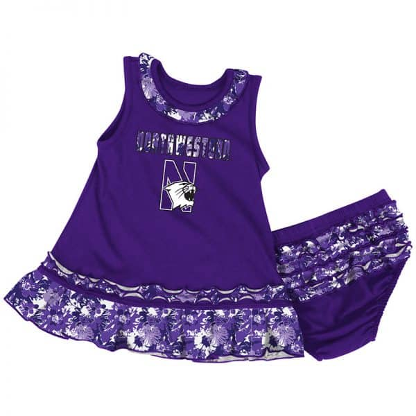 Northwestern University Wildcats Colosseum Infant Purple Fountain Dress Set with N-Cat Design