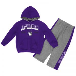 Northwestern University Wildcats Colosseum Infant Purple/Heather Grey Punter Fleece Set with N-Cat Design