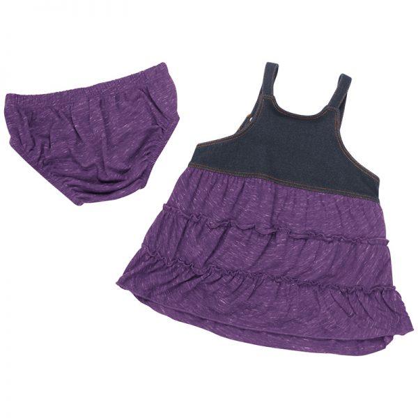Northwestern University Wildcats Colosseum Infants Black Denim/Purple Dress Setwith N-Cat Design *Back