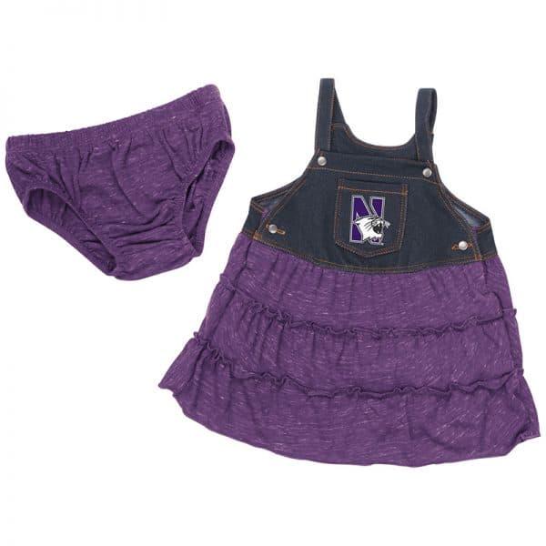Northwestern University Wildcats Colosseum Infants Black Denim/Purple Dress Setwith N-Cat Design