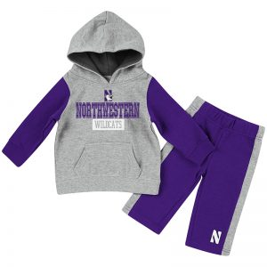 Infant Boys Heather Grey/Purple We Got Us Fleece Set with N-Cat Design