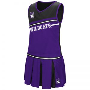 Northwestern University Wildcats Colosseum Youth Girls Purple / Black Curling Cheer Set with N-Cat Design