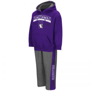 Northwestern University Wildcats Colosseum Toddler Purple / Heather Grey Punter Fleece Set with N-Cat Design