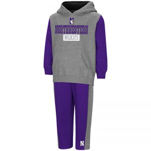 Northwestern University Wildcats Colosseum Toddler Heather Grey Back To Second Grade Fleece Set with N-Cat Design