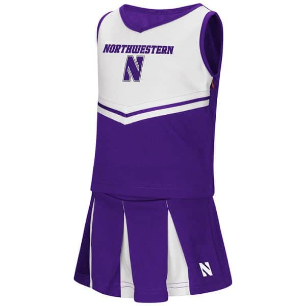 Northwestern University Wildcats Colosseum Toddler Girls Purple/White Pom Pom Cheer Set with Stylized N Design