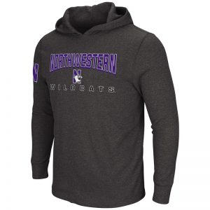 Northwestern University Wildcats Colosseum Men's Charcoal/Purple Hkie'S Waffle Hoodie with N-Cat Design