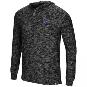 Northwestern University Wildcats Colosseum Men's Black 5 Crawfish Dinners L/S Henley T-Shirt with Stylized N Design