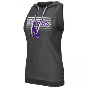 Northwestern University Wildcats Colosseum Ladies Heather Charcoal Unagi Cross Back Hoodie with N-Cat Designwith Stylized N Design