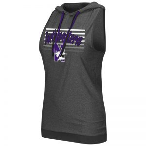 Northwestern University Wildcats Colosseum Ladies Heather Charcoal Unagi Cross Back Hoodie with N-Cat Design