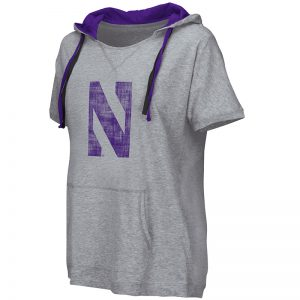 Northwestern University Wildcats Colosseum Ladies Heather Grey Whoopah! Hooded T-Shirt with Stylized N Design