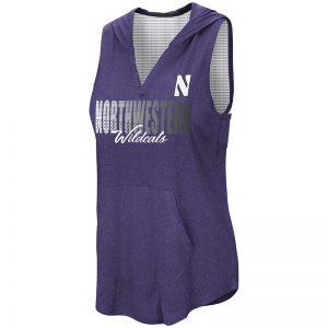 Northwestern University Wildcats Colosseum Ladies Heather Purple / White Rockford Peach Sleeveless Hoodie with Stylized N Design