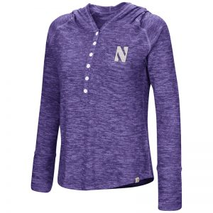 Northwestern University Wildcats Colosseum Ladies Purple You Complete Me Henley Hoodie with Stylized N Design