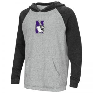 Northwestern University Wildcats Colosseum Youth Heather Grey / Charcoal One-Eyes Willie Raglan L/S T-Shirt with N-Cat Design