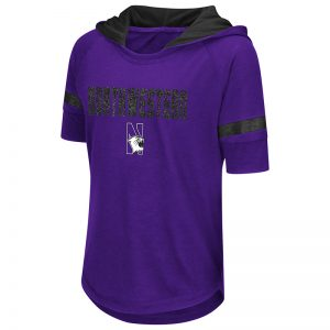 Northwestern University Wildcats Colosseum Girls Purple Umbrella Hooded S/S T-Shirt with N-Cat Design