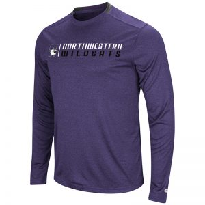 Northwestern University Wildcats Colosseum Men's Heather Purple Hypno L/S T-Shirt with N-Cat Design