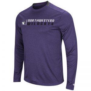 Northwestern University Wildcats Colosseum Men's Heather Purple Hypno L/S T-Shirt with N-Cat Design