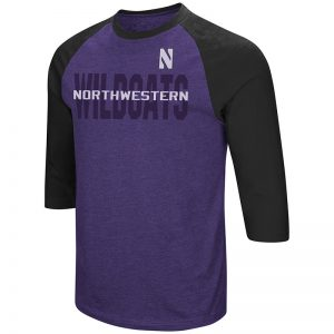 Northwestern University Wildcats Colosseum Men's Purple / Black Steal Home 3/4 Sleeve T-Shirt with Stylized N Design