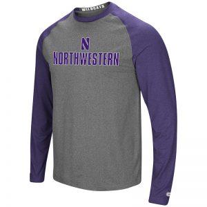 Northwestern University Wildcats Colosseum Men's Heather Charcoal/Heather Purple Social Skills L/S Raglan T-Shirt with Stylized N Design