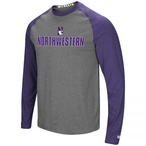 Northwestern University Wildcats Colosseum Men's Heather Charcoal/Heather Purple Social Skills L/S Raglan T-Shirt with N-Cat Design
