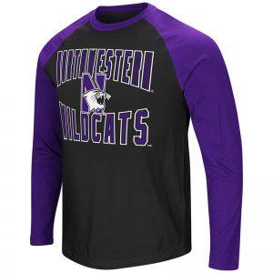 Northwestern University Wildcats Colosseum Men's Black/Purple Cajun L/S Raglan T-Shirt with N-Cat Design