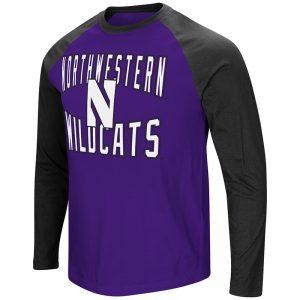Northwestern University Wildcats Colosseum Men's Purple/Black Cajun L/S Raglan T-Shirt with Stylized N Design