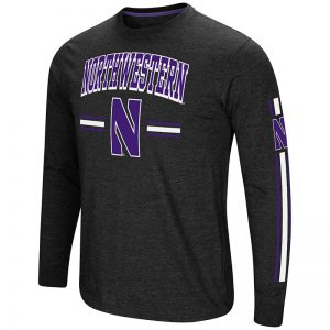 Northwestern University Wildcats Colosseum Men's Black Heather Touchdown Pass L/S T-Shirt with Stylized N Design