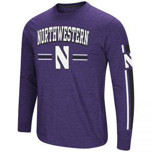 Northwestern University Wildcats Colosseum Men's Purple/Black Touchdown Pass L/S T-Shirt with Stylized N Design