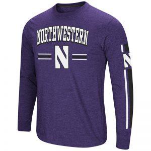 Northwestern University Wildcats Colosseum Men's Purple/Black Touchdown Pass L/S T-Shirt with Stylized N Design