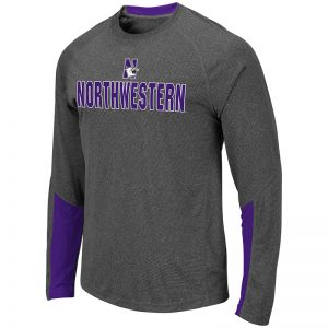 Northwestern University Wildcats Colosseum Men's Heather Charcoal/Purple Brisbane L/S T-Shirt with N-Cat Design