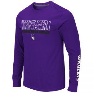 Northwestern University Wildcats Colosseum Men's Purple Guam L/S T-Shirt with N-Cat Design