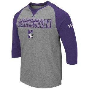 Northwestern University Wildcats Colosseum Men's Heather Grey/Purple Soledad 3/4 Sleeve T-Shirt with N-Cat Design